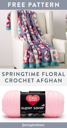 Free Springtime Floral Crochet Afghan using Red Heart Super Saver yarn. Bursting with color and pattern, this crochet blanket revitalizes a room with the spirit of spring. For this pattern, you'll be working in rounds as you practice treble crochet and double crochet to complete the flower motif granny squares. #yarnspirations #freecrochetpattern #crochetthrow #crochetblanket #crochetafghan #redheartyarns #redheartsupersaver Afghan Patterns, Crochet Blanket Patterns, Knitting Patterns Free, Free Pattern, Crochet Blankets, Knit Or Crochet, Double Crochet, Free Crochet, Crochet Ideas