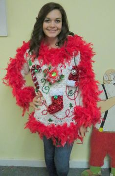 Show Girl Glam Light up Fiber Optic flower Tacky Ugly Christmas Sweater Red Feather Foo Foo Boa womens sz S-M- Ugly Christmas Sweater Women, Ugly Xmas Sweater, Christmas Sweaters, Ugliest Christmas Sweater, Ugly Sweaters Diy, Tacky Christmas Party, Christmas Ideas, Christmas Decorations, Office Christmas