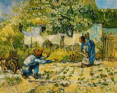 First Steps (after Millet), 1890 by Vincent van Gogh. Post-Impressionism. genre painting