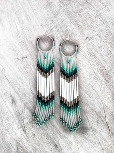 Long Fringe Beaded Earrings, Mint, Teal, White Shoulder Dusters, Long Seed Bead Earrings, Native American Inspired, Tribal, Southwestern. $75.00, via Etsy.