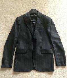 Size 38 Us New Andrea Versali 3 Piece Suit Men's Black Pinstripe 48 Eu Italy