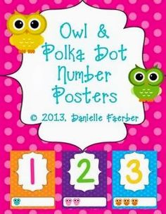 polka dot and owl number posters