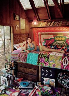 home decorating in Bohemian style - this will be my bedroom in my weekend cabin in the woods when I'm rich
