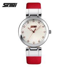 SKMEI Brand Women Fashion Dress Watches Leather Strap Casual Quartz Watch Ladies Student Wristwatches 2017 New Clock