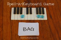 beginning keyboard awareness--spell words on keyboard (I wonder how she made the cute keyboard in this photo...)