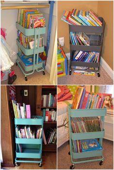Raskog cart for kids' book storage