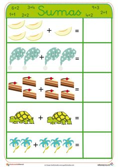 fichas aprender a sumar de melones, tortugas ,etc