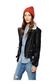 Faux Leather Jacket with Detachable collar - US$50.99