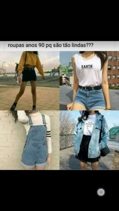 """Muito mais bonitas do que das de hj em dia (minha opniao) .Hj maioria é só blusa escrito """"ranço"""" """"top"""" e tals`-´ Fashion Now, Fashion Outfits, Womens Fashion, Creepypasta Cute, Casual Outfits, Cute Outfits, Grunge Girl, Tumblr Outfits, Kawaii Fashion"""