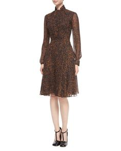 Tie-Neck+Leopard-Print+Chiffon+Dress+by+Derek+Lam+at+Neiman+Marcus+Last+Call.