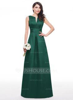 A-Line/Princess V-neck Floor-Length Satin Bridesmaid Dress With Ruffle (007060599)