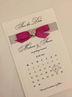 25 x Sparkly Wedding Save the Dates, Calendar Cards, choice of ribbon colours, handmade save the dates, 'Diamonds' collection