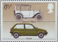 British Motor Industry 15.5p Stamp (1982) Austin 'Seven' and 'Metro'