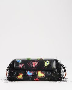 Mary Frances Jewelry | Mary Frances LU Leather Multi-Heart Beaded Fringe Clutch