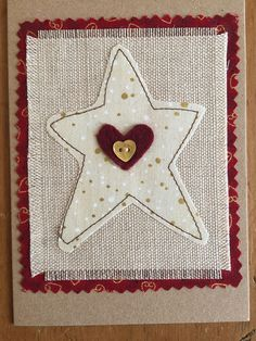 Christmas card, fabric applique card, hand embroidered , handmade greeting card, fabric card This greetings card is ideal for that special Christmas card. I have used 100% cotton fabrics and machine appliqued the star onto a vintage linen background and embellished it with a mother