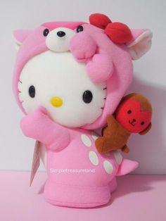 Sanrio Region Hiroshima Limited Pink Deer Hello Kitty Plush With Monkey