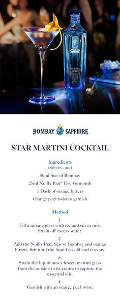 Star Martini Cocktail | A step-by-step guide to making a Star Martini Cocktail using Star of Bombay - a smooth way to enhance a classic | 50ml Star of Bombay | 25ml Noilly Prat Dry Vermouth | One dash of orange bitters | Orange peel twist to garnish
