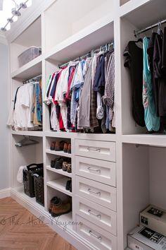 Master Closet Remodel - Built-ins, Drawers, Behr Silky White, Wood Tile #DIY