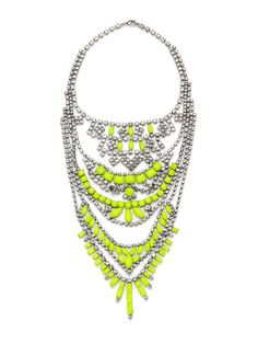 Neon Yellow & Crystal Multi Tired Necklace by Tom Binns on Gilt