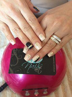 Nail design black gold studs