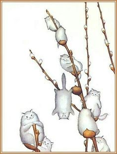 Willowy Kitties, by morreth on LJ cute whimsical illustration of willow catkins made of cats Crazy Cat Lady, Crazy Cats, I Love Cats, Cute Cats, Funny Kittens, Adorable Kittens, Animals Watercolor, Kawaii, Here Kitty Kitty