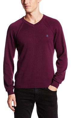 Original Penguin Men's Raglan V-Neck Sweater, Italian Plum, Small Best Price