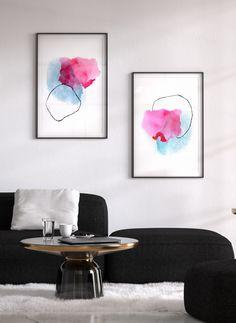 Blue and pink art print set. Shop modern and colorful home decor by Adri Luna Studio. Minimal Decor, Modern Decor, Large Abstract Wall Art, Pink Art, House Colors, Wall Art Prints, Beautiful Wall, Home Decor, Art Decor