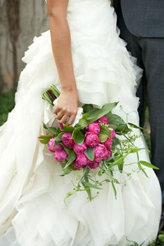 If I were to do it all again, I might have this fuschia peonies bridal bouquet Wedding Bells, Wedding Flowers, Wedding Dresses, Bouquet Wedding, Purple Wedding, Dream Wedding, Wedding Day, Wedding Story, Spring Wedding