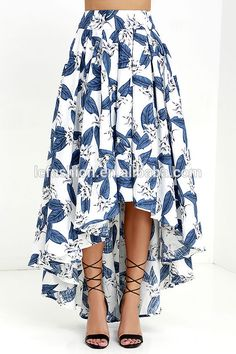 The Tropical Getaway Blue and Ivory Floral Print High-Low Skirt has a bold botanical print across a high-low skirt with hidden tulle. Modest Fashion, Fashion Dresses, Pencil Skirt Outfits, Bohemian Skirt, High Low Skirt, High Skirts, Ladies Dress Design, Dress Patterns, Dress Skirt