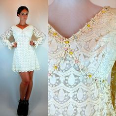 Vintage 60s Cream Lace Babydoll Mini Dress w/ by BluegrassVoodoo