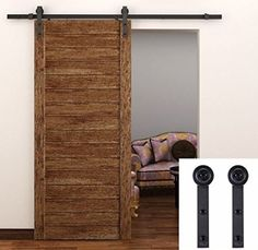TCBunny Country Steel Sliding Barn Wood Door Hardware Antique Style (Brown)