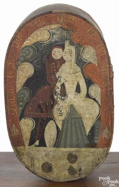 Continental painted bentwood bride's box, early 19th c., decorated with a couple on the lid - Price Estimate: $400 - $700