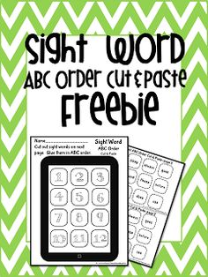 """Sight word ABC Order FREEBIE- cut and paste the sight word app icon onto their own printable """"tablet"""""""