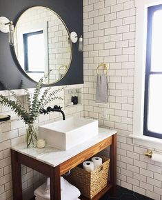 Nothing makes us smile more than a before and after 😁and this one is divine 👏 you did an amazing job totally transforming this bathroom and we might need you to come design ours now. Upstairs Bathrooms, Downstairs Bathroom, Bathroom Renos, Small Bathroom, Round Bathroom Mirror, Cloakroom Sink, Rustic Bathroom Decor, Bathroom Styling, Bathroom Interior Design