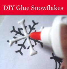 How To Make Glue Snowflakes...  Lay wax paper over snowflake template. Draw lines with glue. Sprinkle with glitter. Dry overnight. Add string to hang.  More great ideas at http://homestead-and-survival.com/