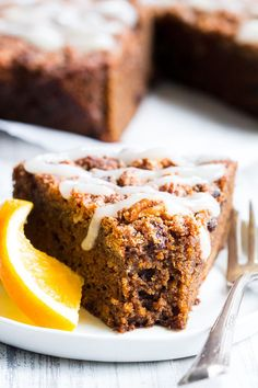 This orange gingerbread coffee cake is perfectly moist, sweet, full of sweet gingerbread spices and orange flavor. Gluten free, paleo, dairy free.