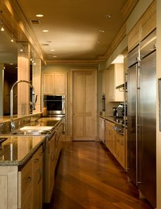 Contemporary Kitchen with bird's eye maple cabinets and stainless steel appliances