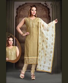 3851a23b3815d4 Beige Art Silk Readymade Churidar Suit 78640