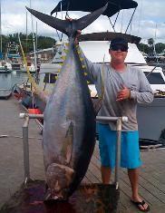 HUge Ahi Yellow Fin Tuna! Hawaii Sport Fishing Charters North Shore Oahu, Haleiwa, Hawaii.  www.H2oAdventuresHawaii.com