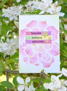 InvisiblePinkCards: Handmade Mother's day card using Tim Holtz Distress Inks and STAMPlorations stencil with hand lettered sentiment