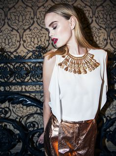 Gold Necklace Aldo, Gold Metal Trousers ANTEPRIMA.  Love this fashion editorial.