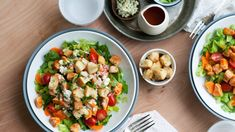 The flavors of buffalo wings comes together in salad form with plenty of fresh and crunchy vegetables, crispy garlic croutons, spicy-sauced chicken and a light, Greek-yogurt based, blue-cheese dressing.