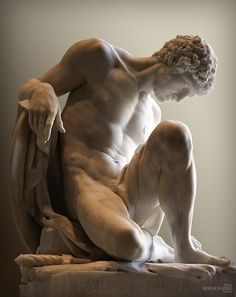 Pierre Julien (French, 1731-1804),Gladiateur mourant[Dying Gladiator], reception piece for theAcadémie 1779. Marble, 60 x 48 x 42cm.Mus...