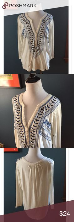 """Lucky Brand Embroidered Peasant Top Beautiful blue embroidery on this Peasant Top by Lucky Brand. Featuring a V Neck, the top is 60% cottonand 40% modal. Bust 19""""; Length 24"""". EUC Lucky Brand Tops Blouses"""