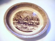 Royal Chine Jeannette Corporating Currier and Ives by parkledge, $15.00