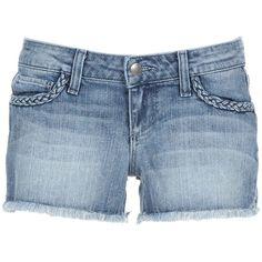 PAIGE PREMIUM DENIM SILVER LAKE SHORT MOJAVE COTTON/SPANDEX - ($180) ❤ liked on Polyvore featuring shorts, bottoms, clothes / shorts, pants, paige denim shorts, denim shorts, fringe jean shorts, silver shorts and cotton spandex shorts