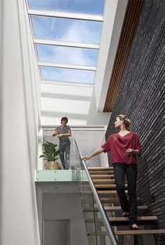 Get ideas for a staircase renovation! Even the narrowest staircase can be opened up to the sky! Read about VELUX #ModularSkylights and how they flush your home with natural #daylight: http://www.modularskylights.velux.com/products/longlight_5-25