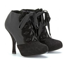 Dolce & Gabbana Lace Up Suede Trimmed Ankle Boots - Polyvore