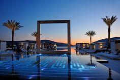 Purobeach Porto Montenegro's pool which sits in Montenegro's dramatic Bay of Kotor