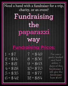 Have a Paparazzi fundraiser. $2 earned for each piece sold
